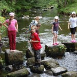Cubs have fun in the river